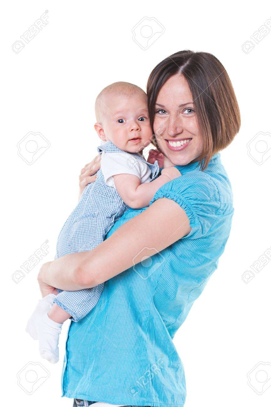 happy mother and three month old baby  isolated on white Stock Photo - 14003274