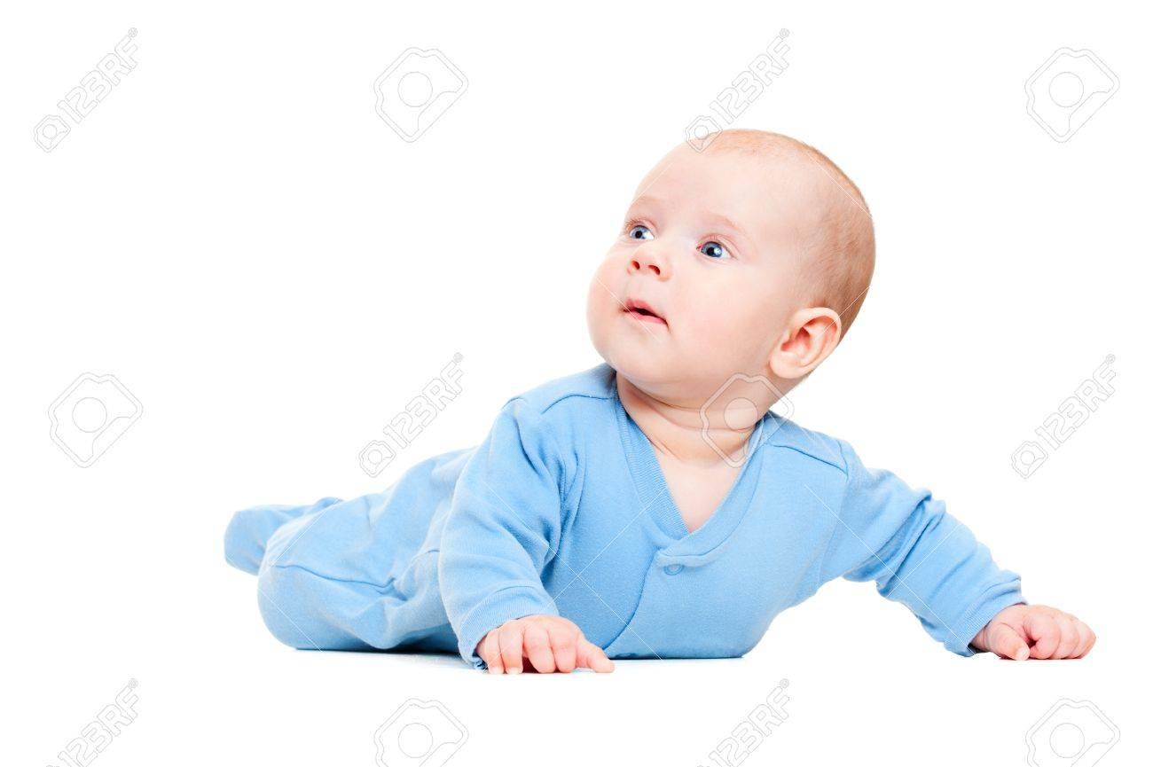 25104de7e Pretty Little Boy In Blue Romper Suit. Isolated On White Background ...