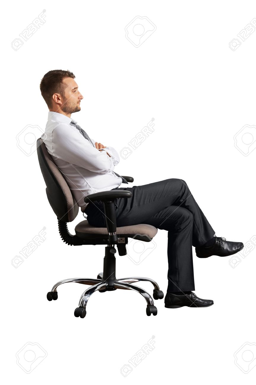 Man sitting in chair side - Sitting On Chair Sideview Of Businessman On The Office Chair Isolated On White Background