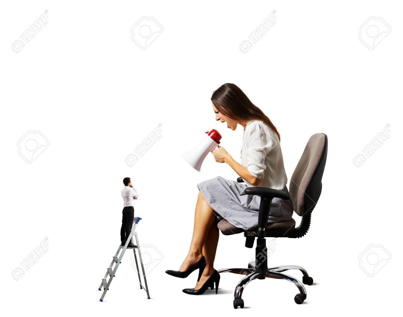 aggressive woman screaming at small man on the stepladder over white background Stock Photo - 27696776