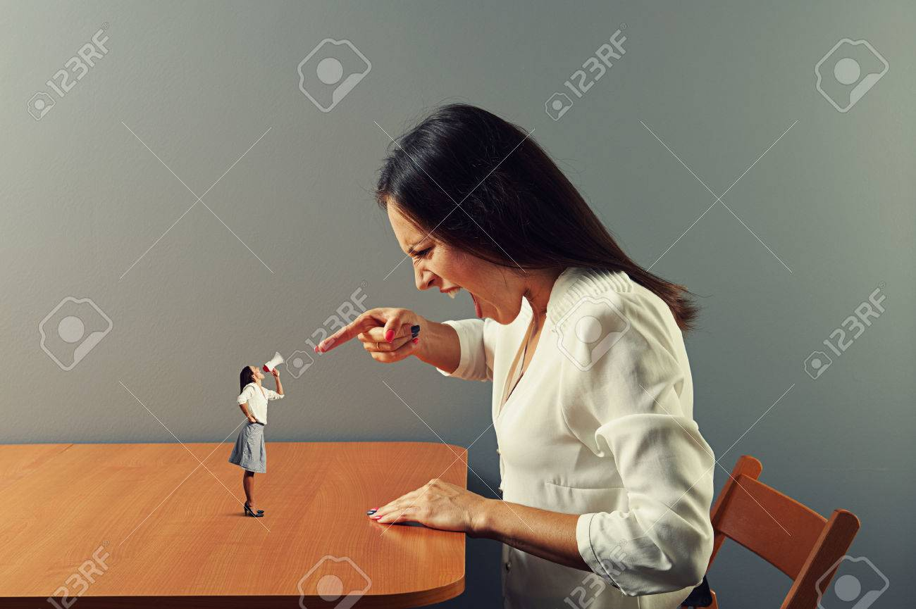emotional woman screaming at small angry woman with megaphone Stock Photo - 27696778