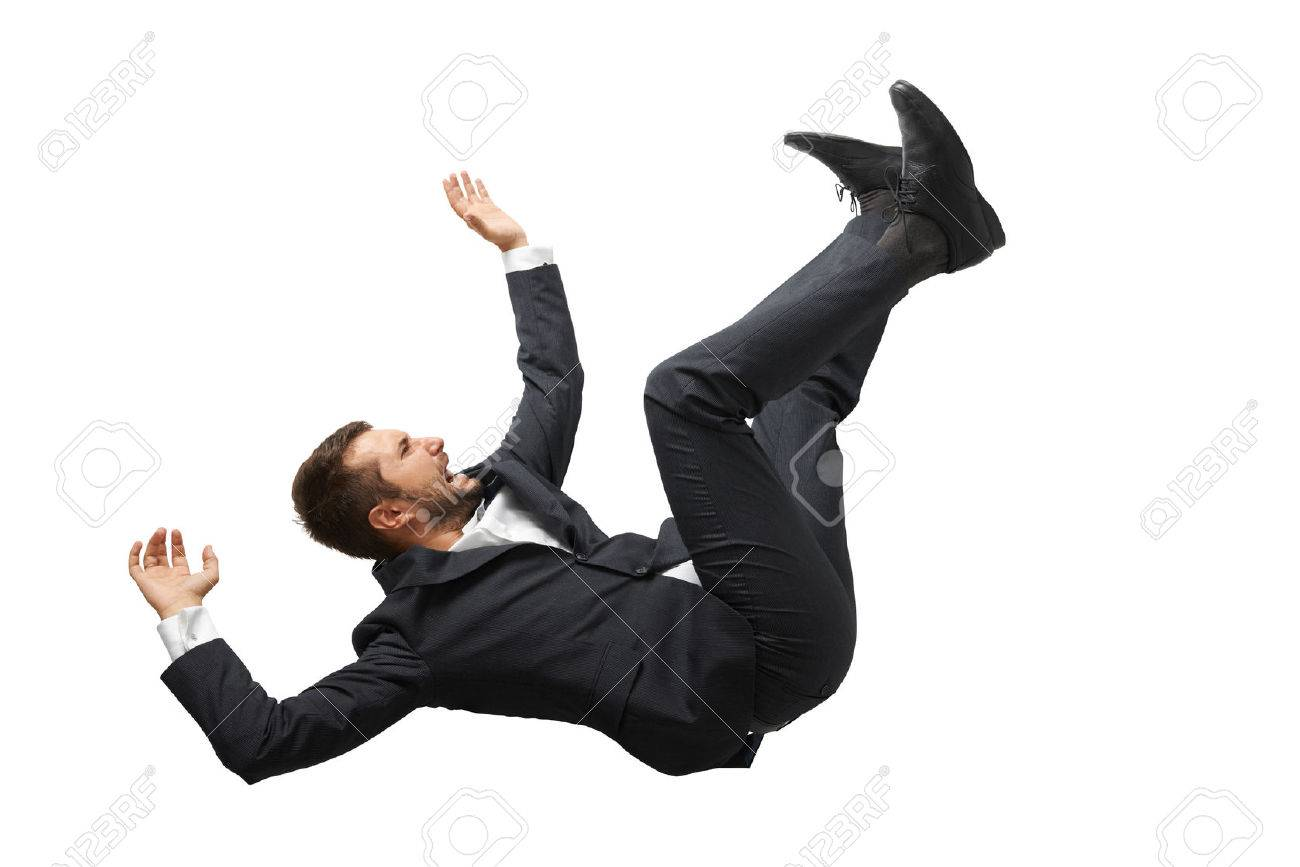 Falling And Screaming Businessman In Formal Wear Over White Background Stock Photo