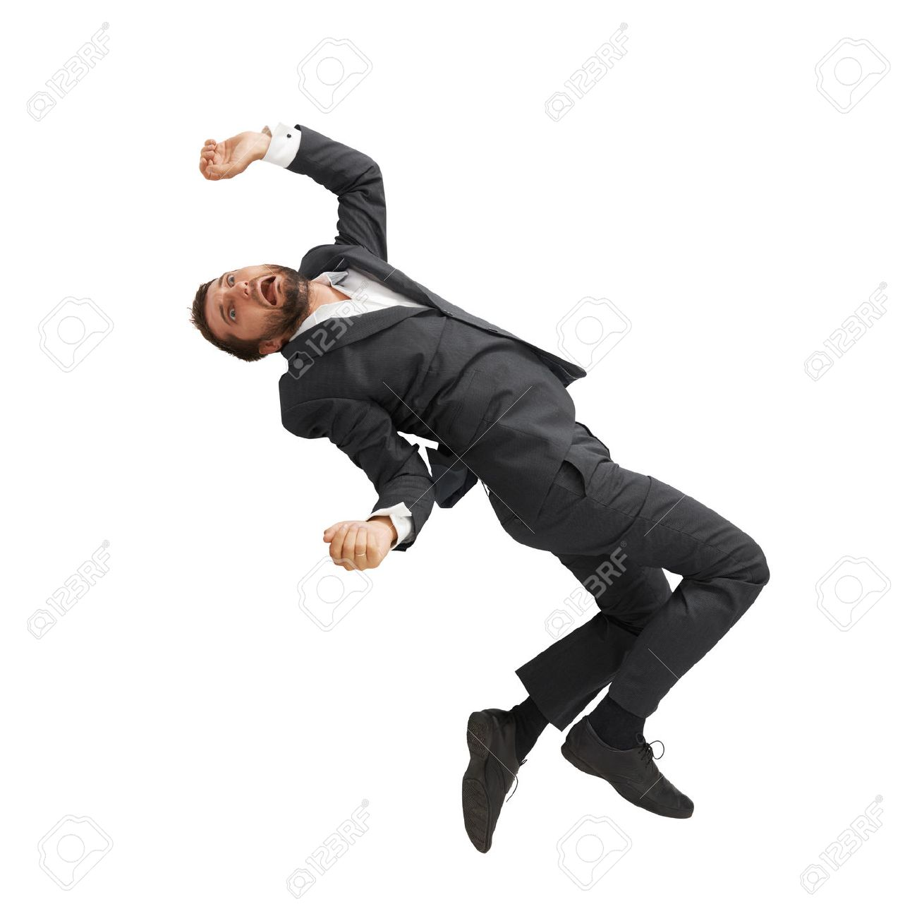 frightened businessman falling down and screaming. isolated on white background - 31757272