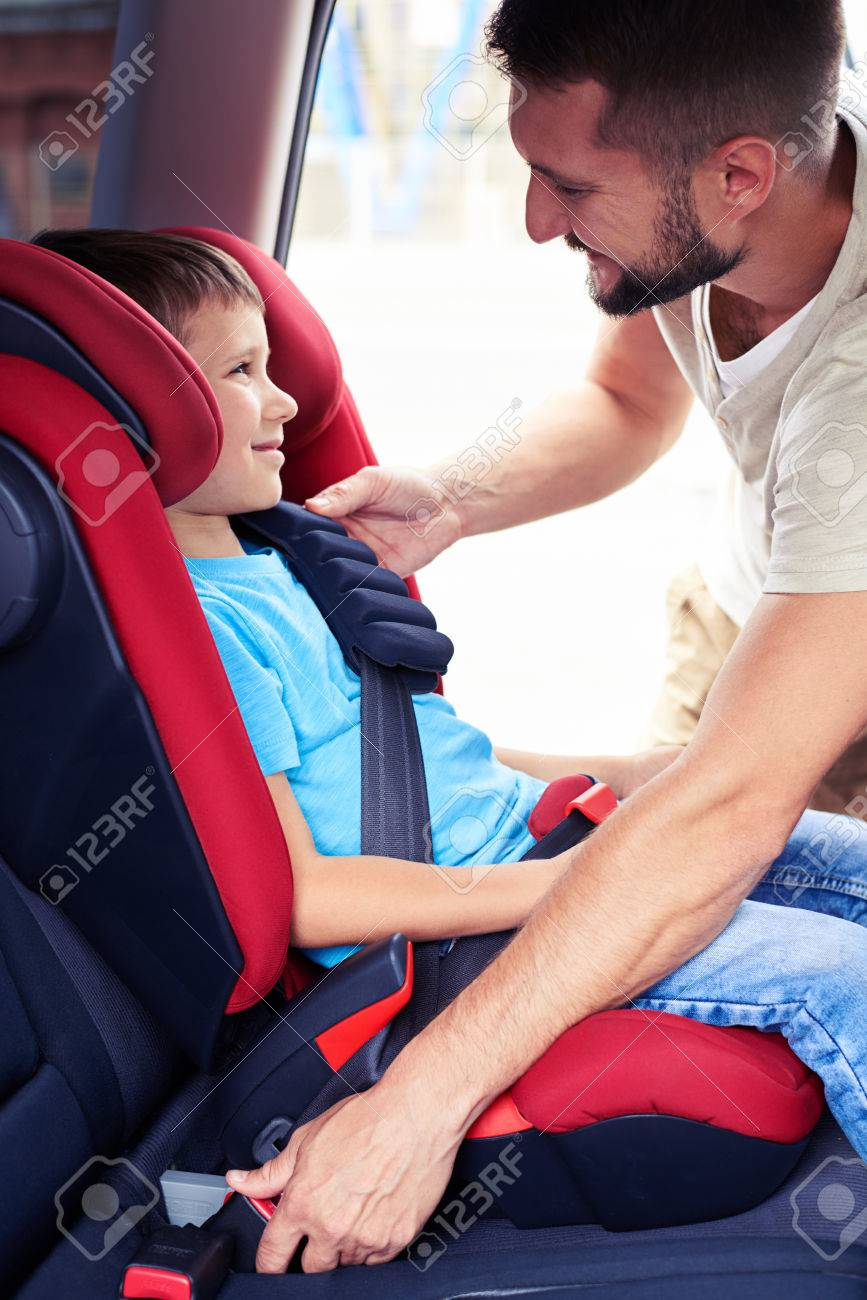 Groovy Side View Of Smiling Son In Infant Car Seat Being Put In Back Cjindustries Chair Design For Home Cjindustriesco