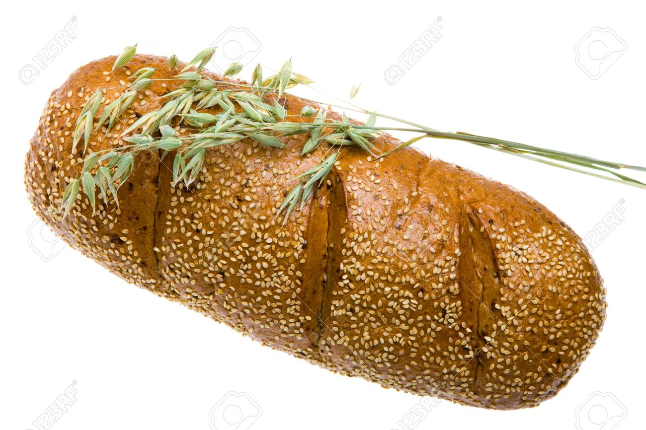 Wheat and bread on white background Stock Photo - 8444836