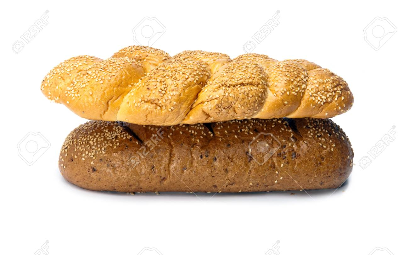 Bread on white background Stock Photo - 9292552