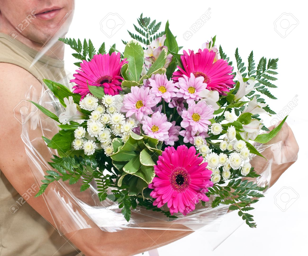 Brawny Man\'s Hand With A Bouquet Of Flowers Stock Photo, Picture And ...