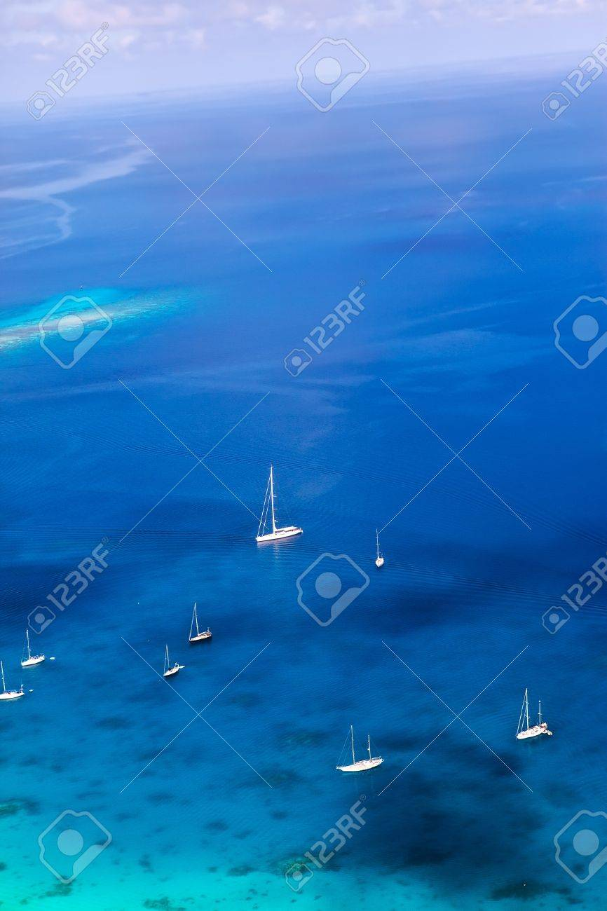 Yachts in a bay. Aerial view. - 12368911