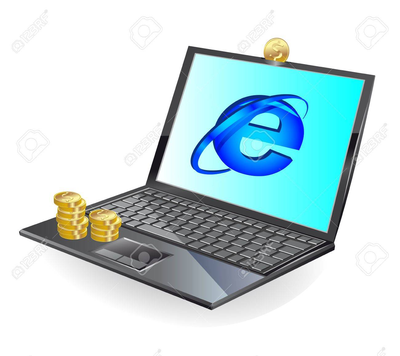 black laptop and gold coinsl  illustration Stock Photo - 7317577