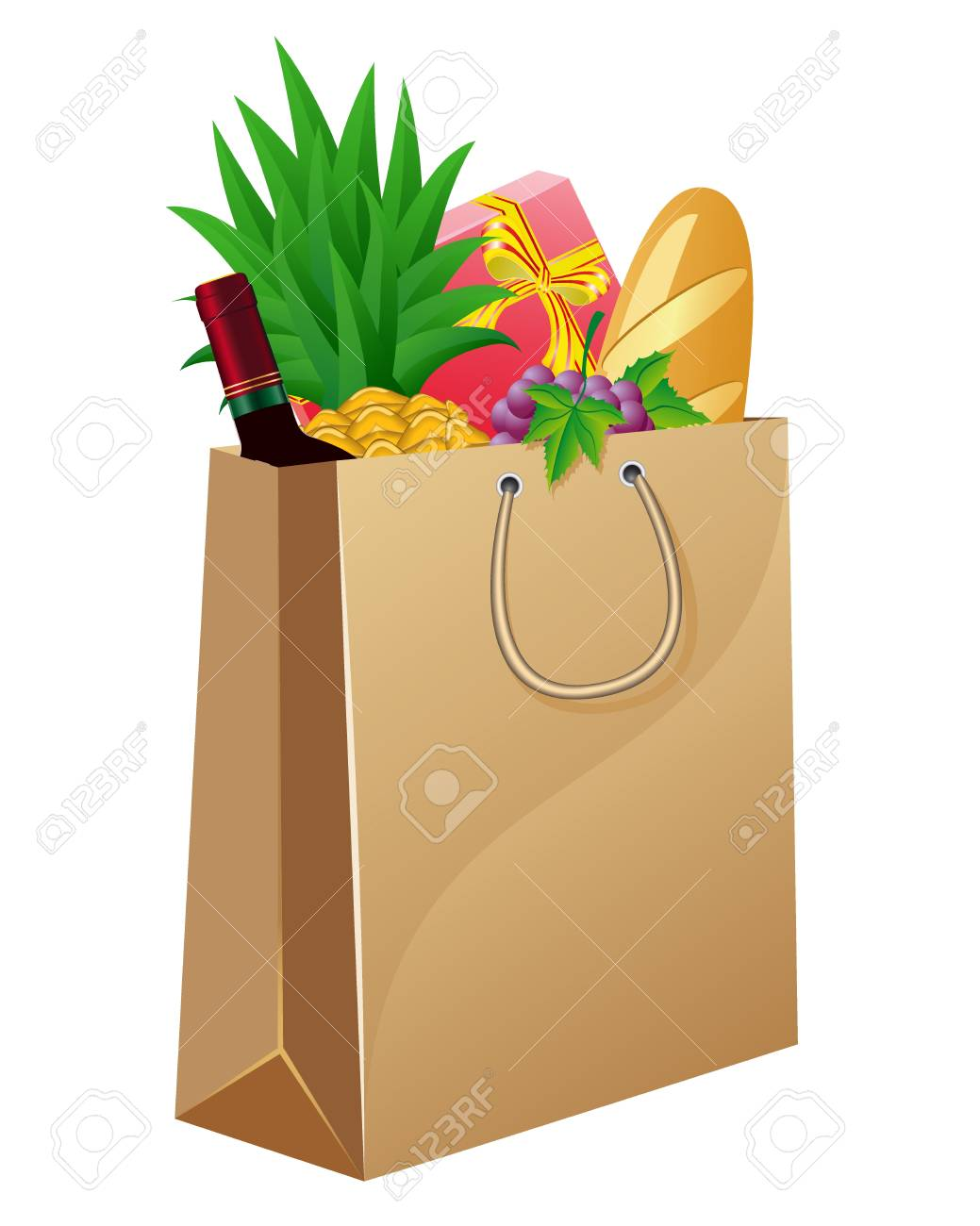 shopping bag with foods vector illustration Stock Photo - 9144733