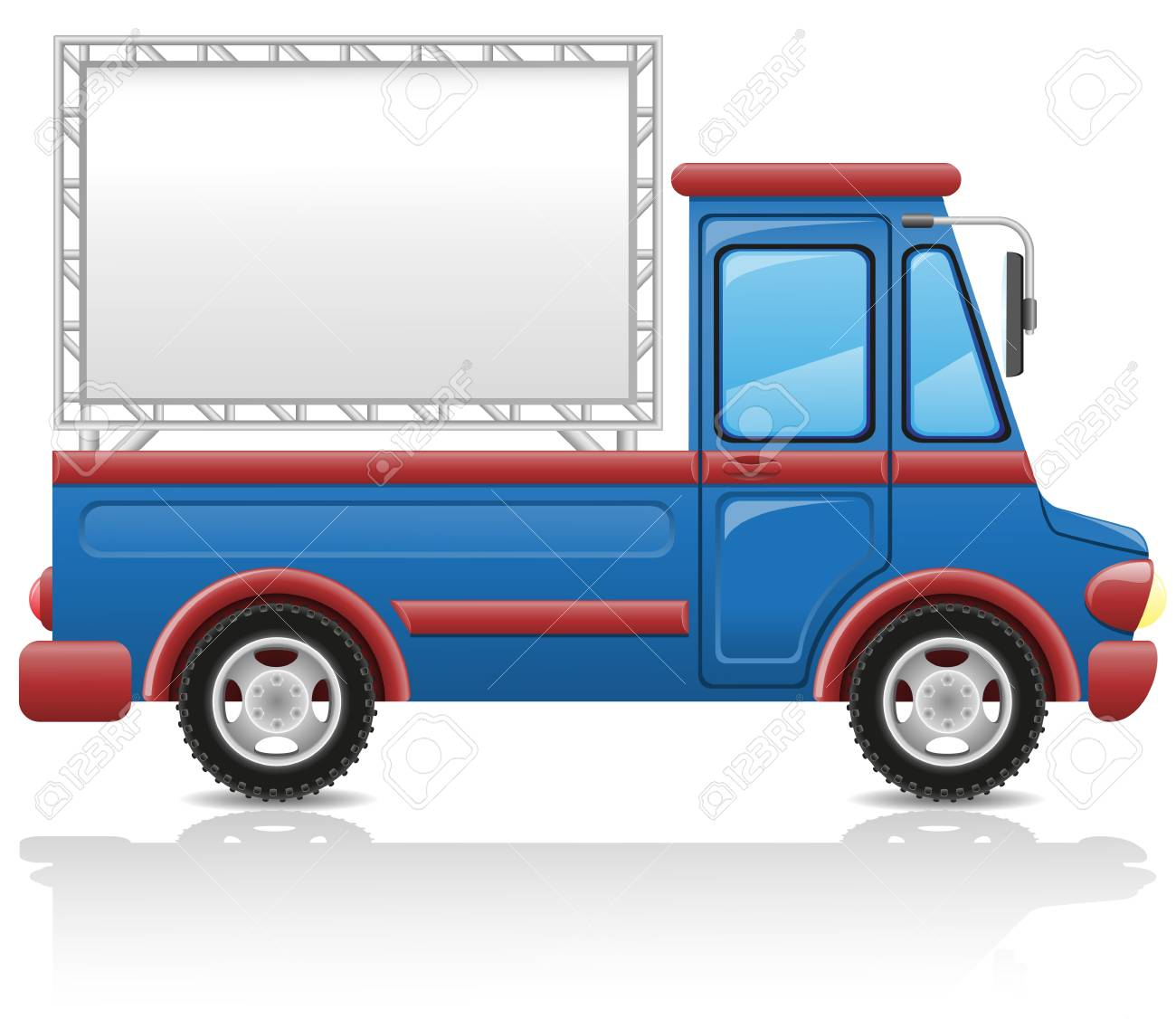 car with a billboard illustration isolated on white background Stock Illustration - 15162183