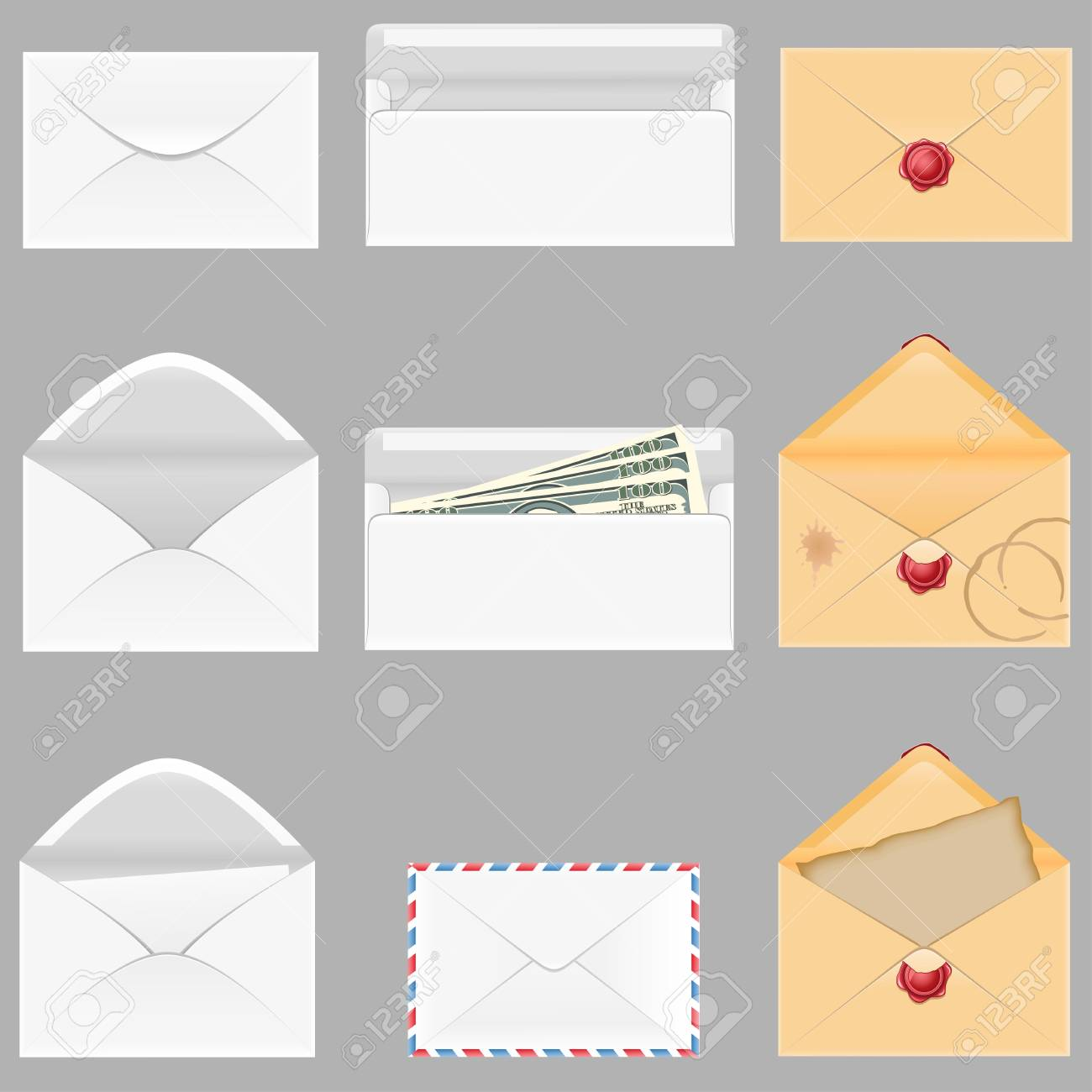 set icons paper envelopes illustration isolated on gray background Stock Illustration - 16445770