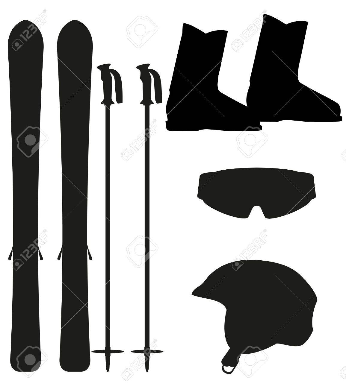 ski equipment icon set silhouette vector illustration isolated on white background Stock Photo - 16681950