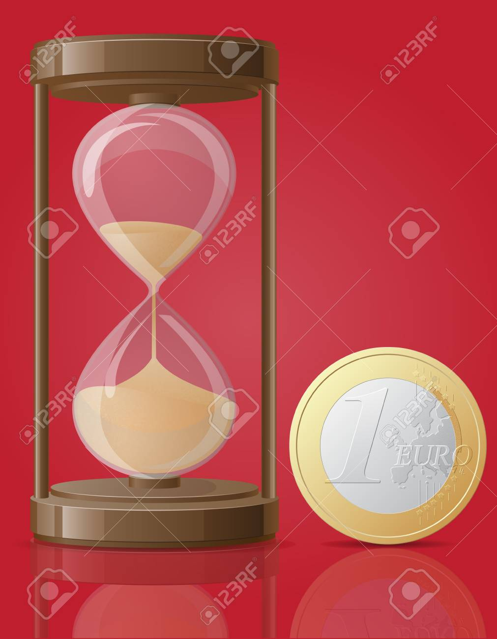 old retro hourglass and one coin euro vector illustration isolated on red background Stock Photo - 23869063