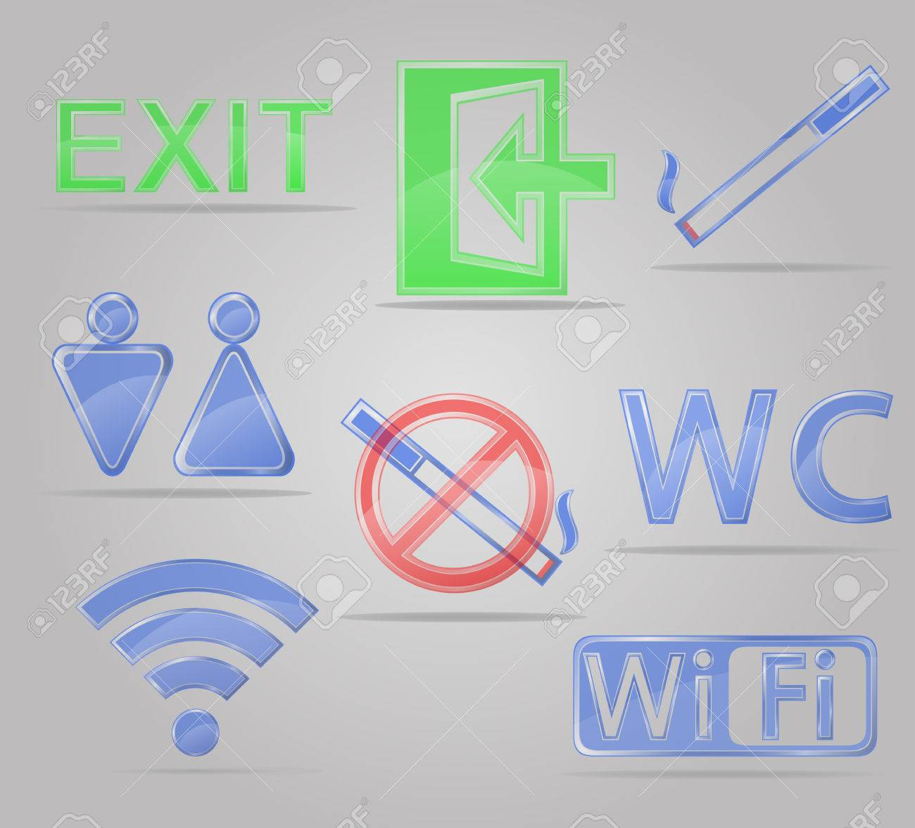 Iconos conjunto de signos transparentes para lugares públicos ilustración  vectorial aislados en fondo gris Foto de 835c86f7ac5e3
