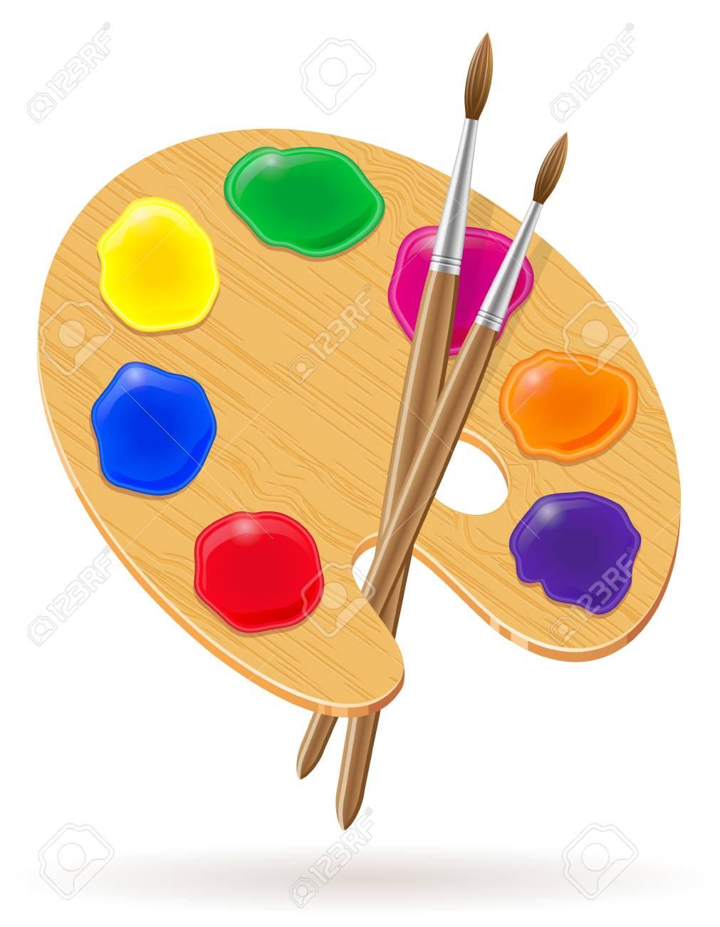 Palette Pour Peintures Et Pinceau Illustration Vectorielle Isolé Sur