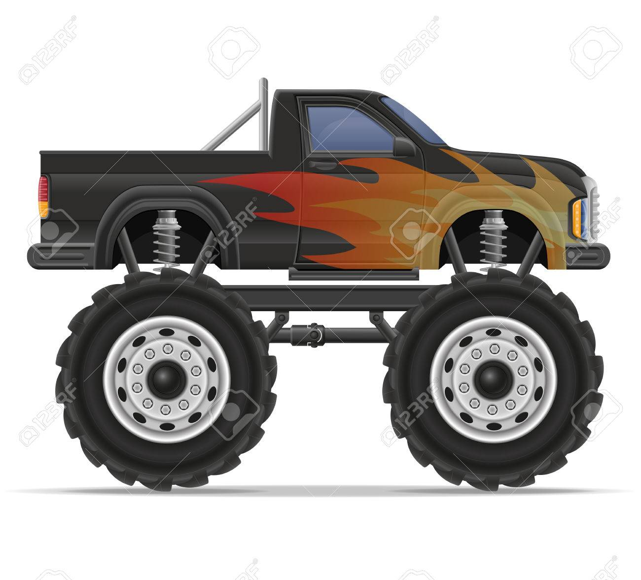 Monster Truck Car Pickup Vector Illustration Isolated On White Stock Photo Picture And Royalty Free Image Image 55801042