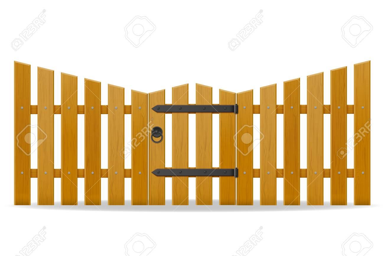 Staccionata Bianca In Legno recinzione in legno con illustrazione vettoriale di porta pedonale isolato  su priorità bassa bianca