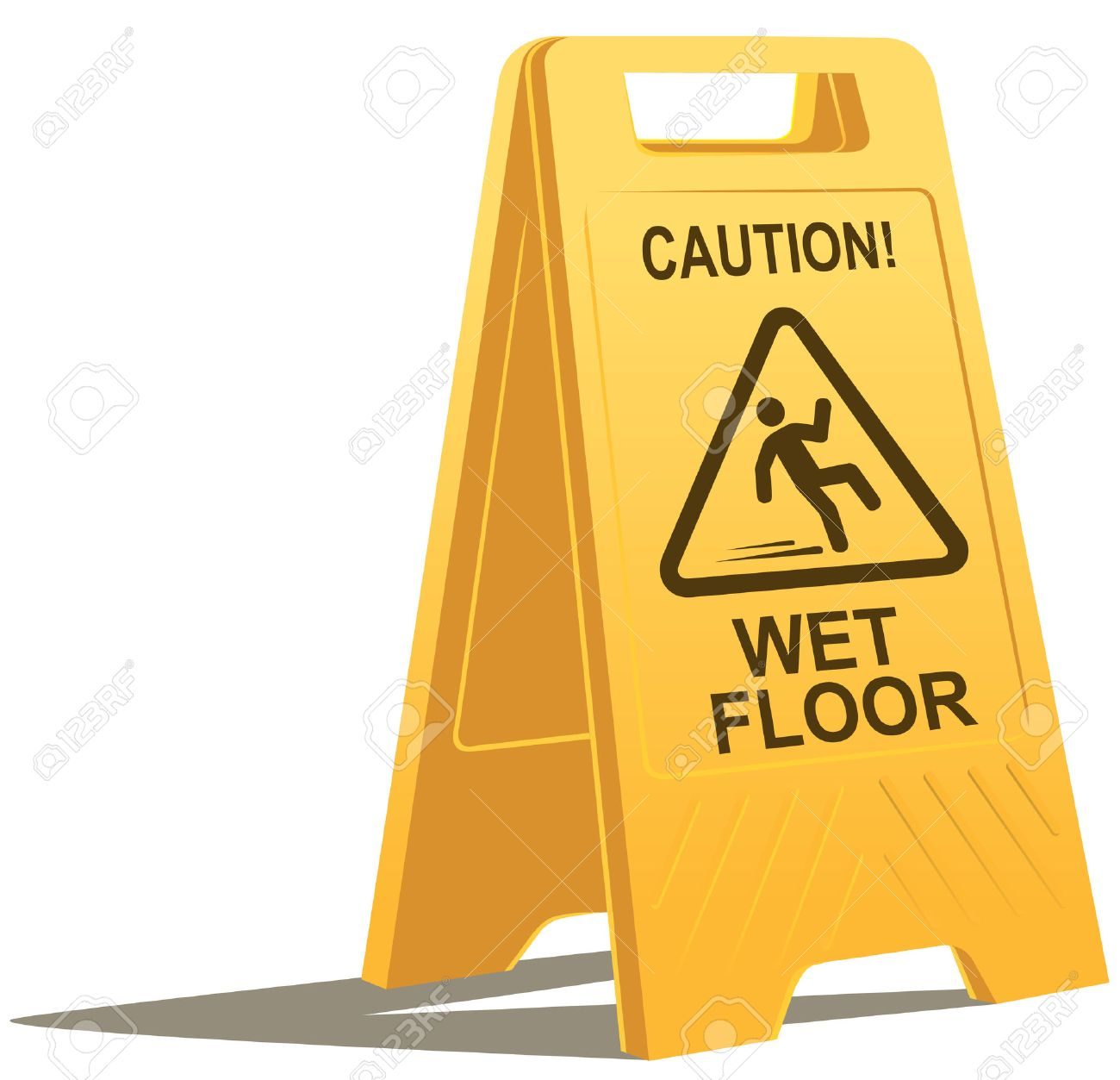 archivio fotografico segno di attenzione del pavimento bagnato