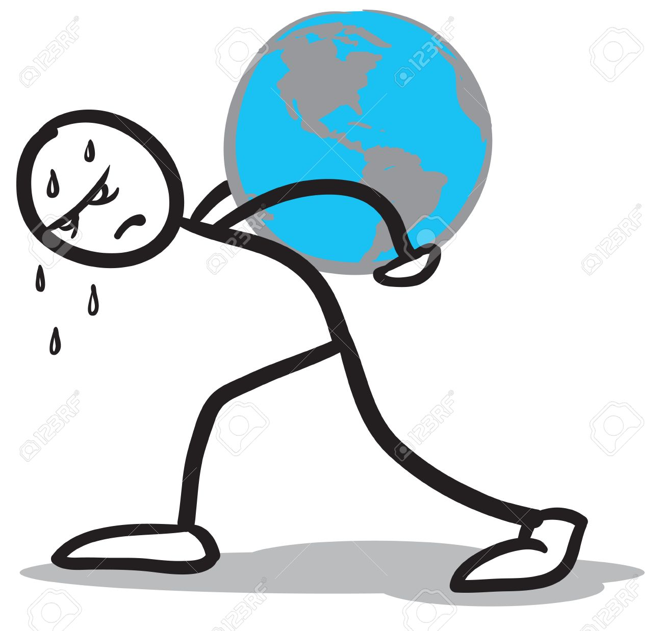 a stickman hardly carrying the earth on his back royalty free