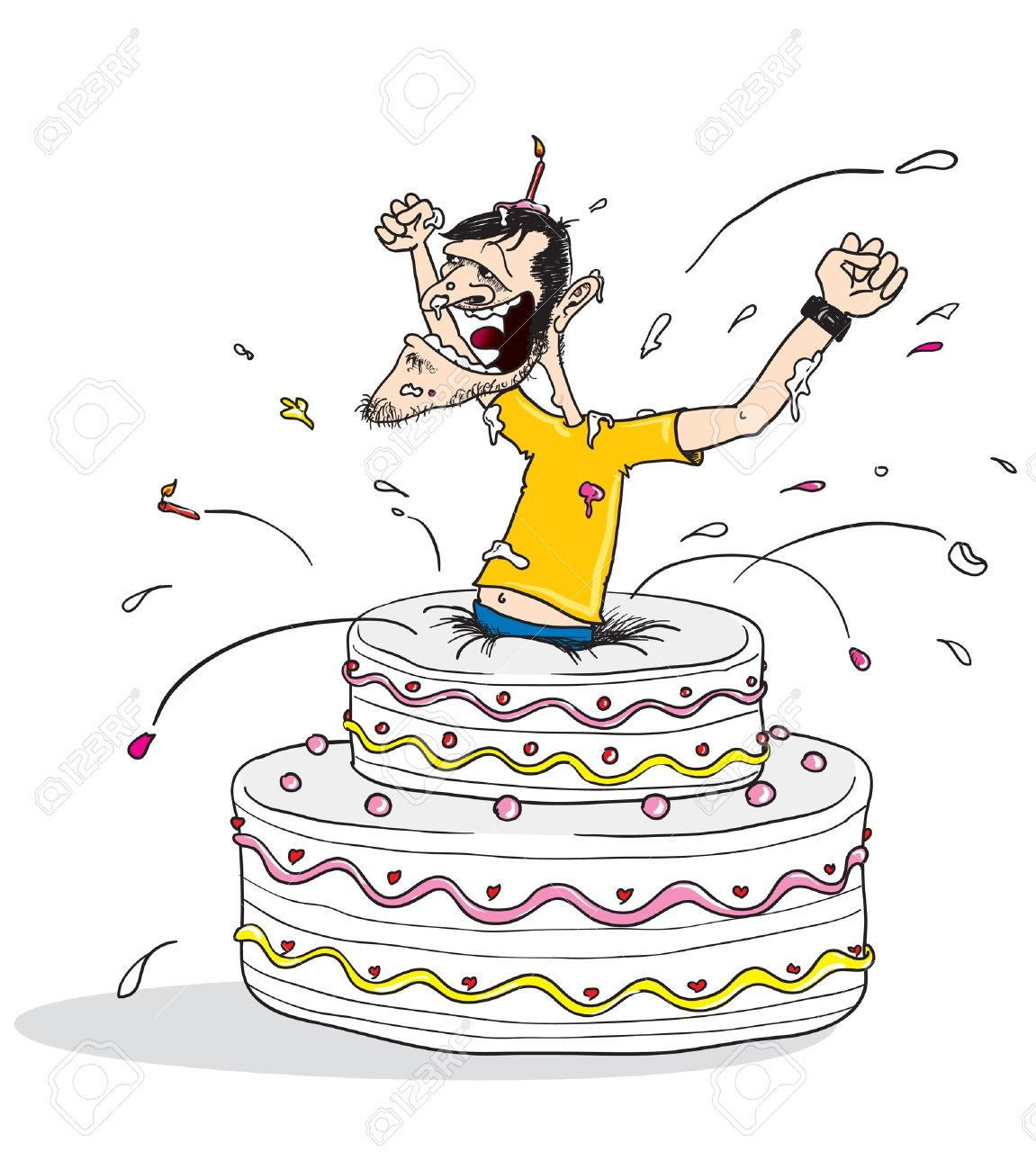 Astounding Cartoon Illustration Of A Man Jumping Out From A Birthday Cake Personalised Birthday Cards Veneteletsinfo