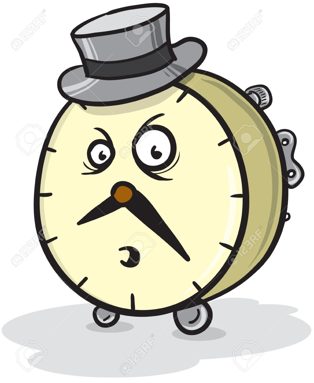 Cartoon Illustration Of A Male Clock With A Hat And An Angry