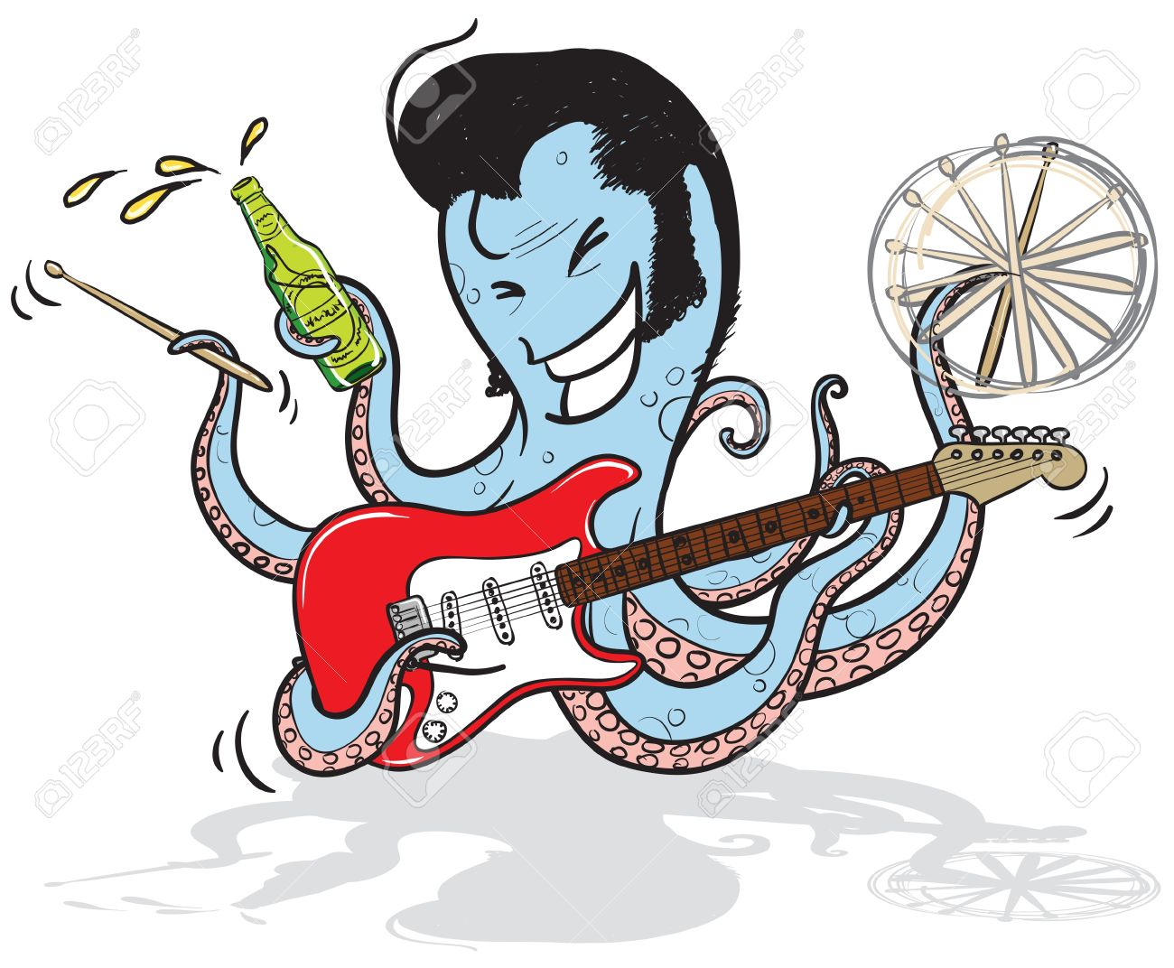 an octopus musician playing guitar, holding drum sticks and beer Stock Vector - 16520369