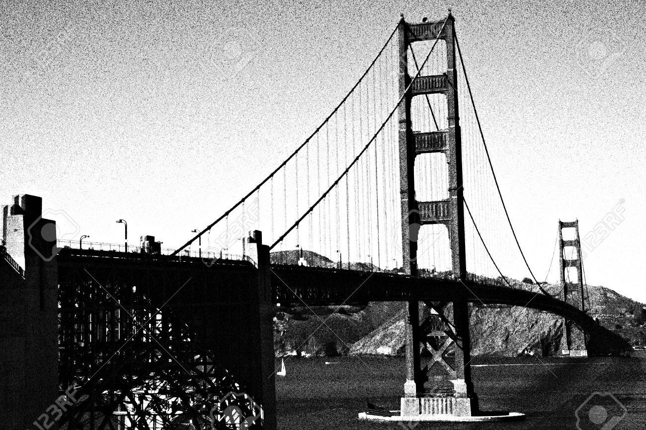 San Francisco Golden Gate Bridge Black And White