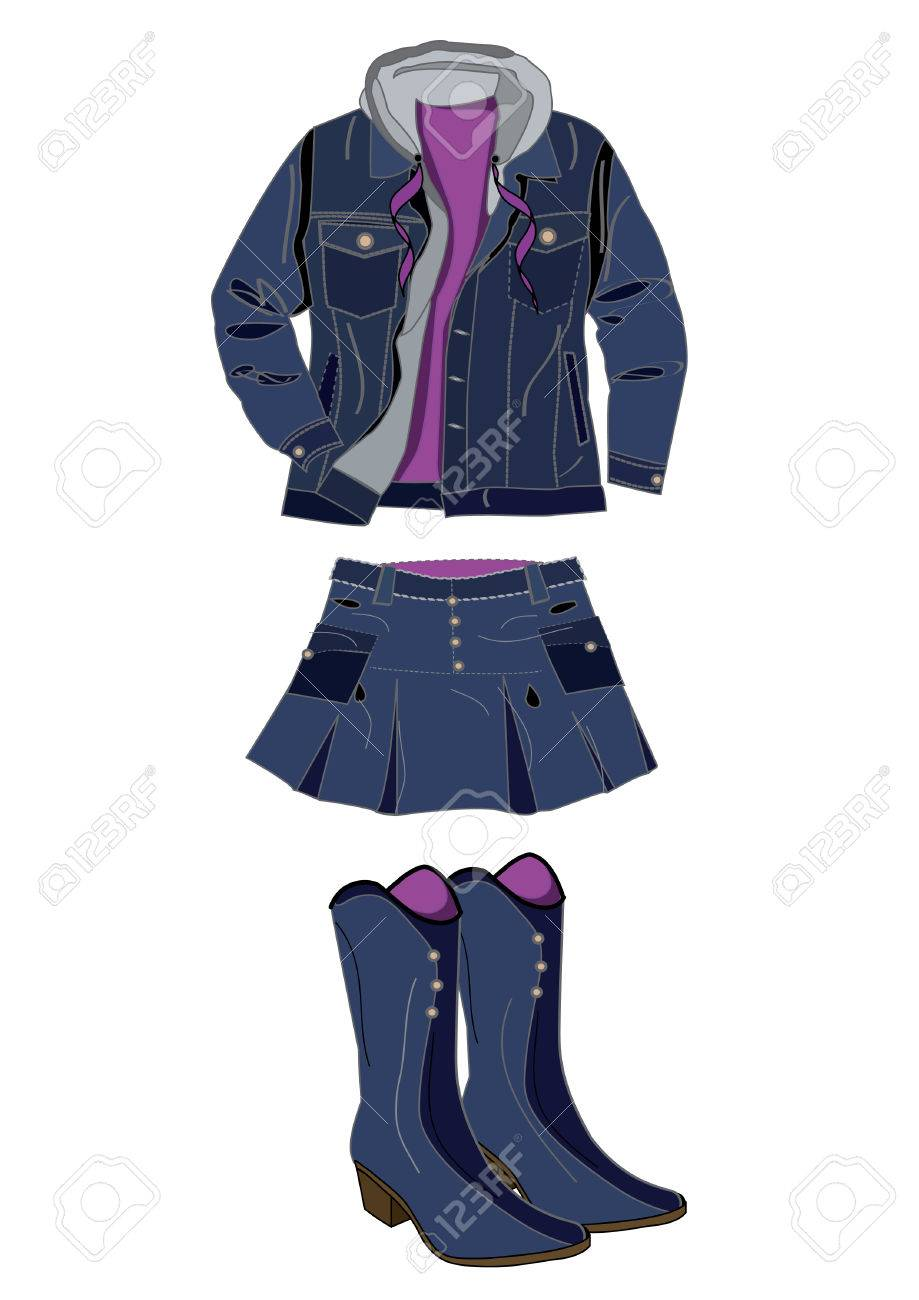 boots, skirt and jacket from denim fabric on a white background Stock Vector - 4819967