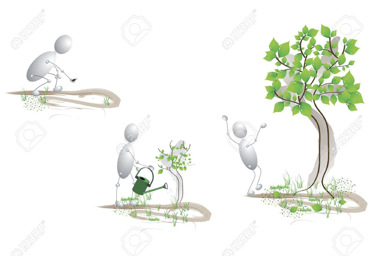 planted seeds, caring for them and grew a large tree Stock Vector - 4943301