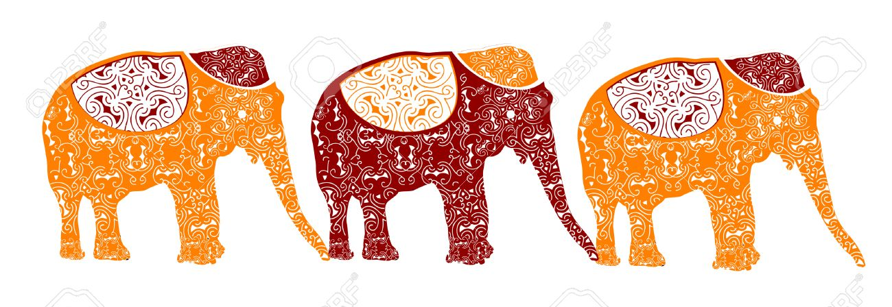 traditional elephants make up the beautiful Indian pattern Stock Vector - 5200381