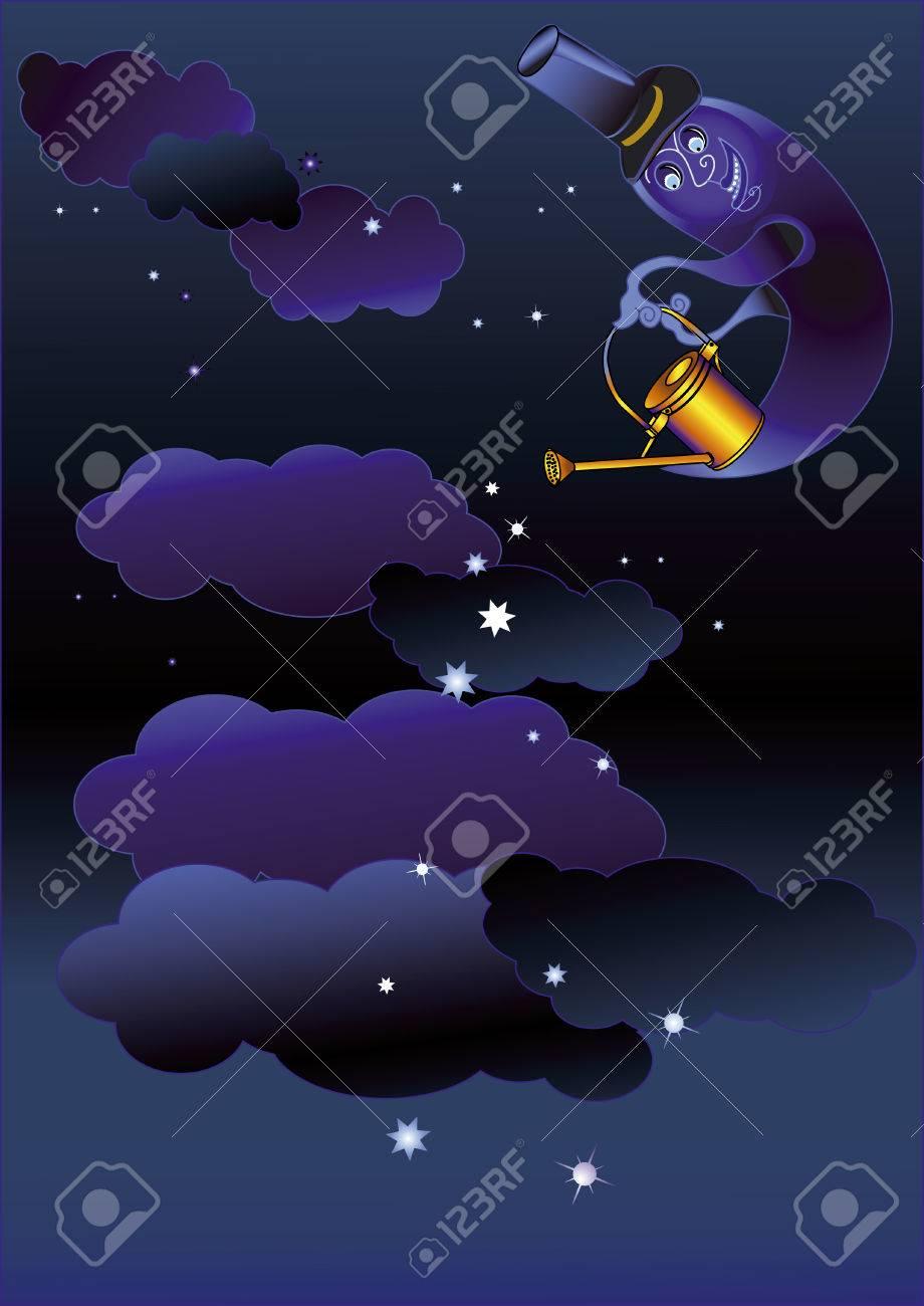 Vettoriale Sfondo Di Notte Con La Luna Che è Innaffiati Di Stelle