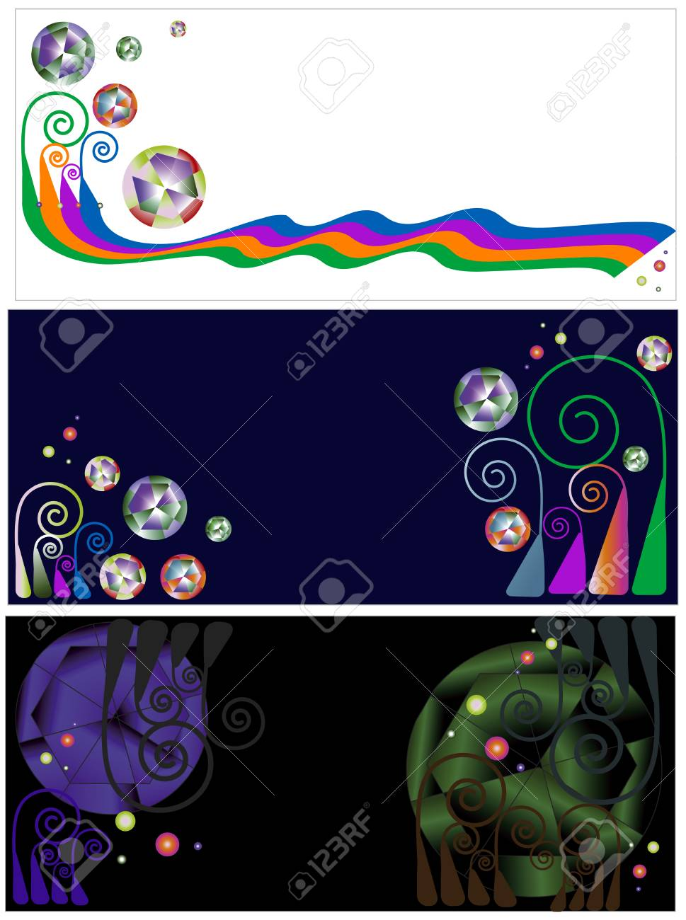 three beautiful banners of various designs and colors Stock Vector - 5311153