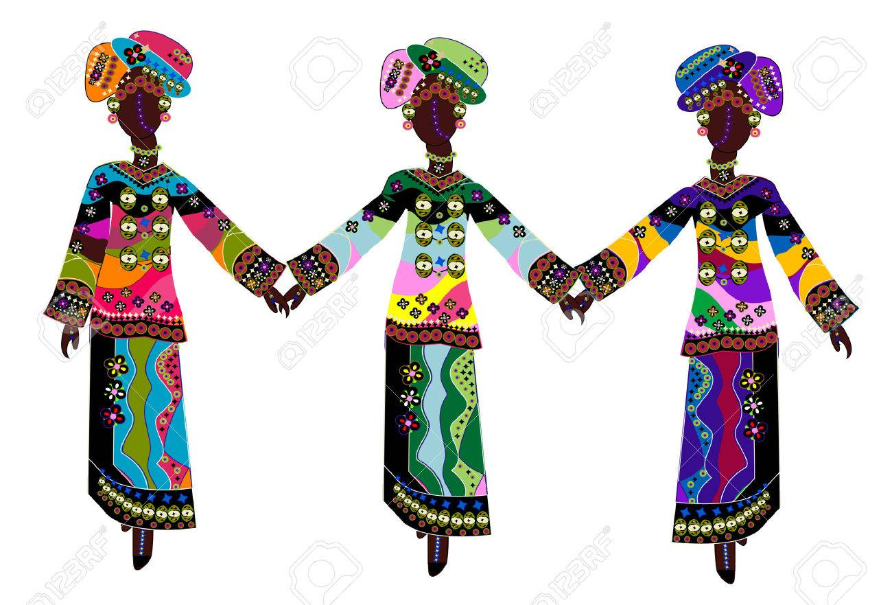 beautiful ethnic women in traditional colorful clothes on a white background Stock Vector - 5522303