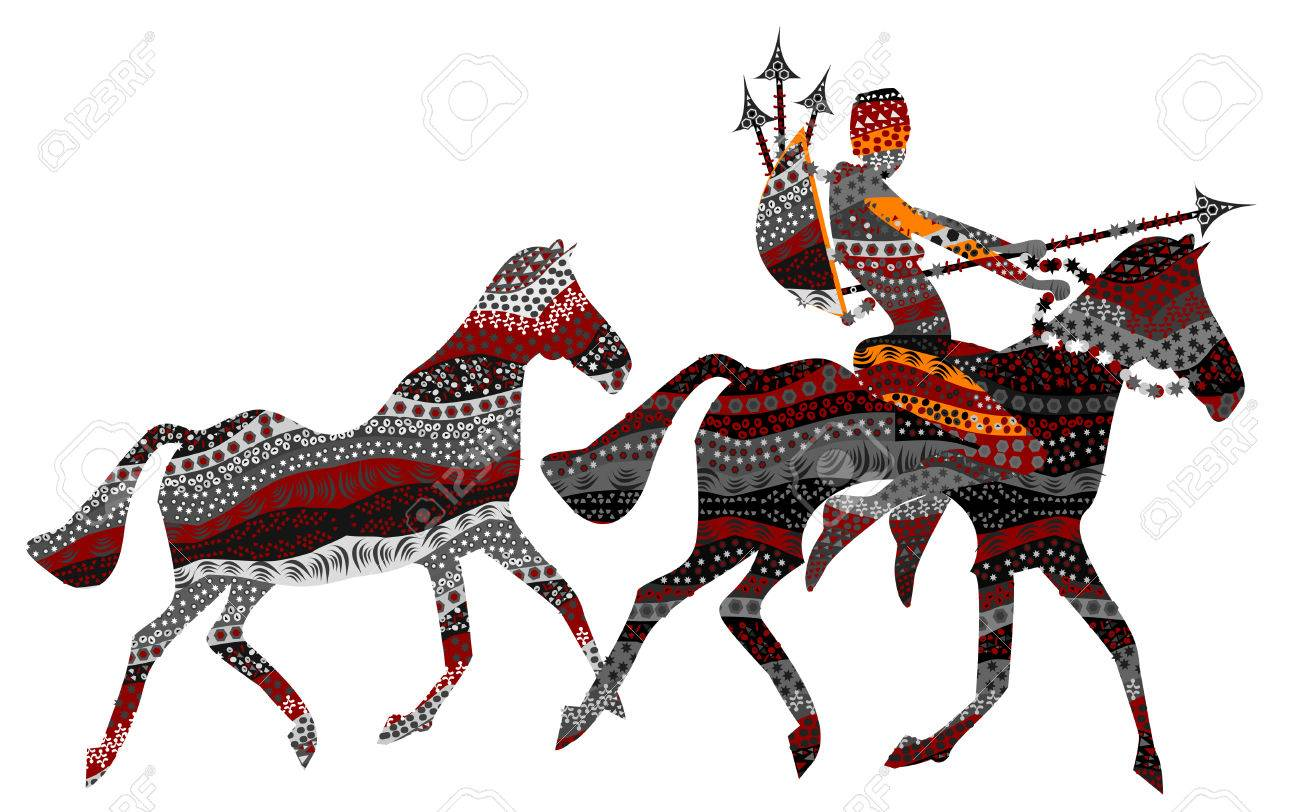 man goes on wild horses on the hunt in ethnic style Stock Vector - 5522307