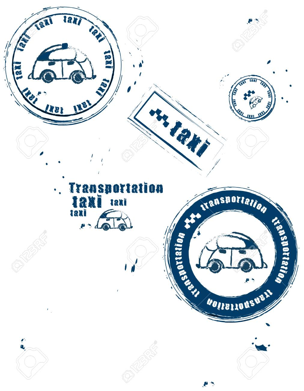 stamps symbolizing the transport and taxis on a white background Stock Vector - 5624572