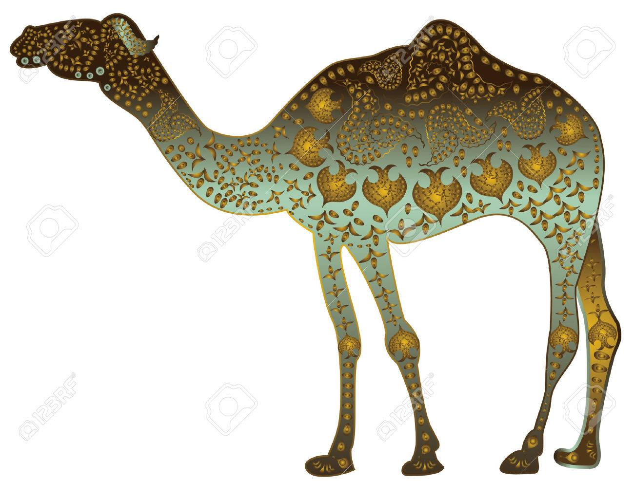 patterned camel of jewelry in ethnic style on a white background - 5731036