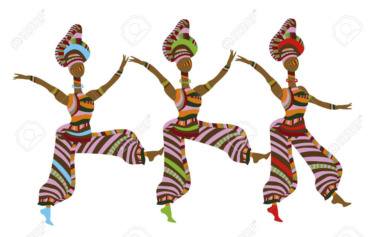 group of people in ethnic style dancing on a white background Stock Vector - 6166517