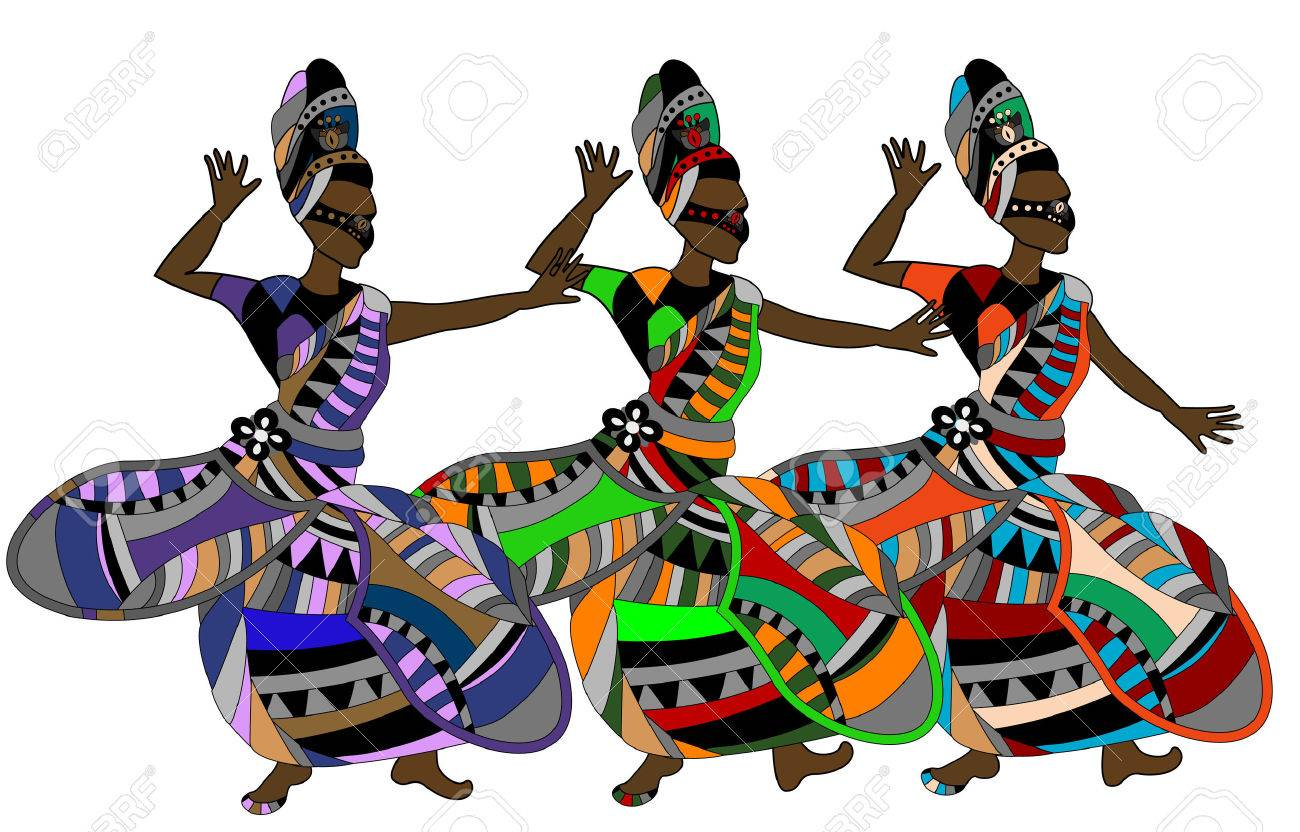 women in the ethnic style of dance gala dance on a white background Stock Vector - 9075817