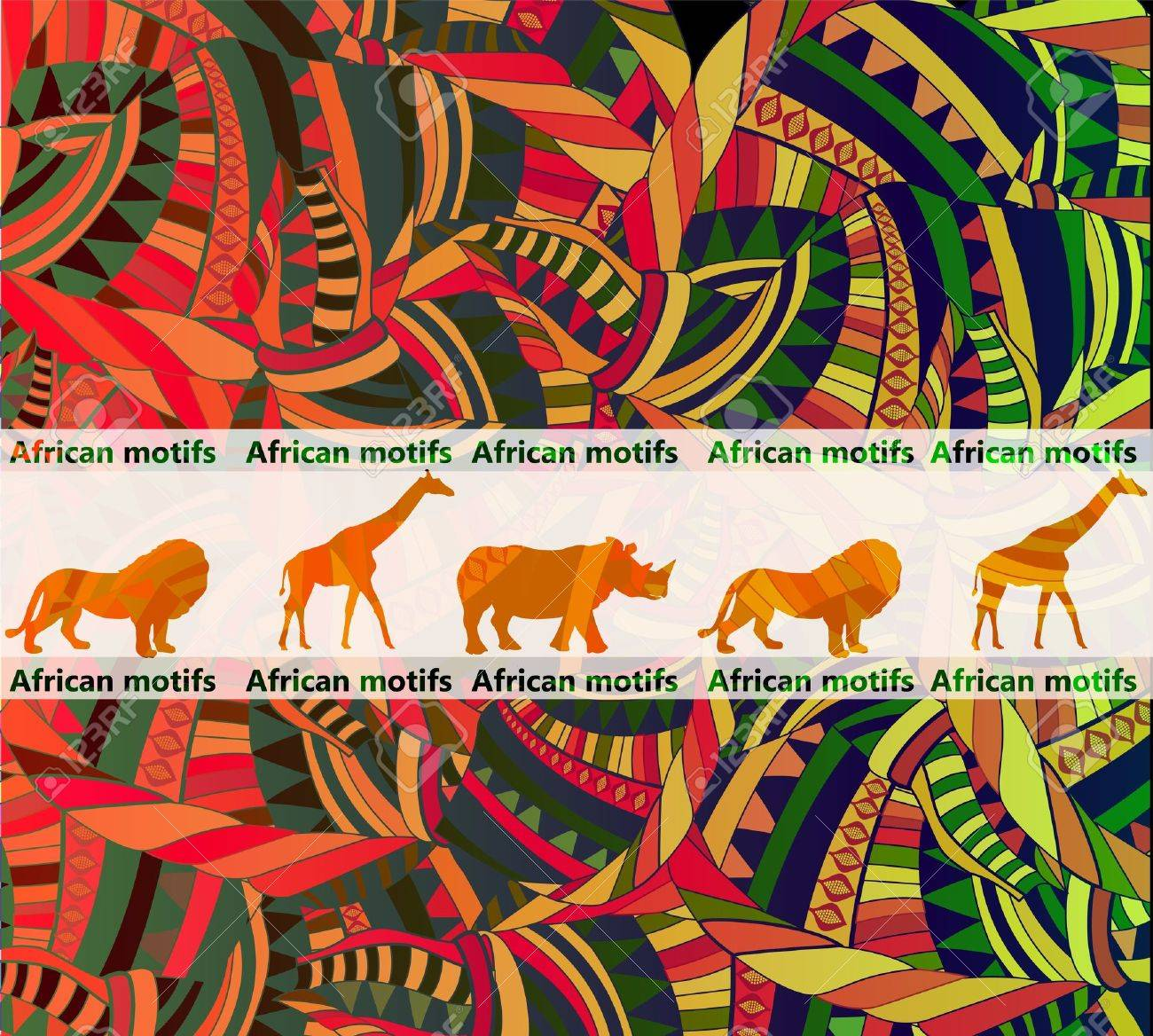 African ethnic background with traditional animal(eps.10) Stock Vector - 11993572