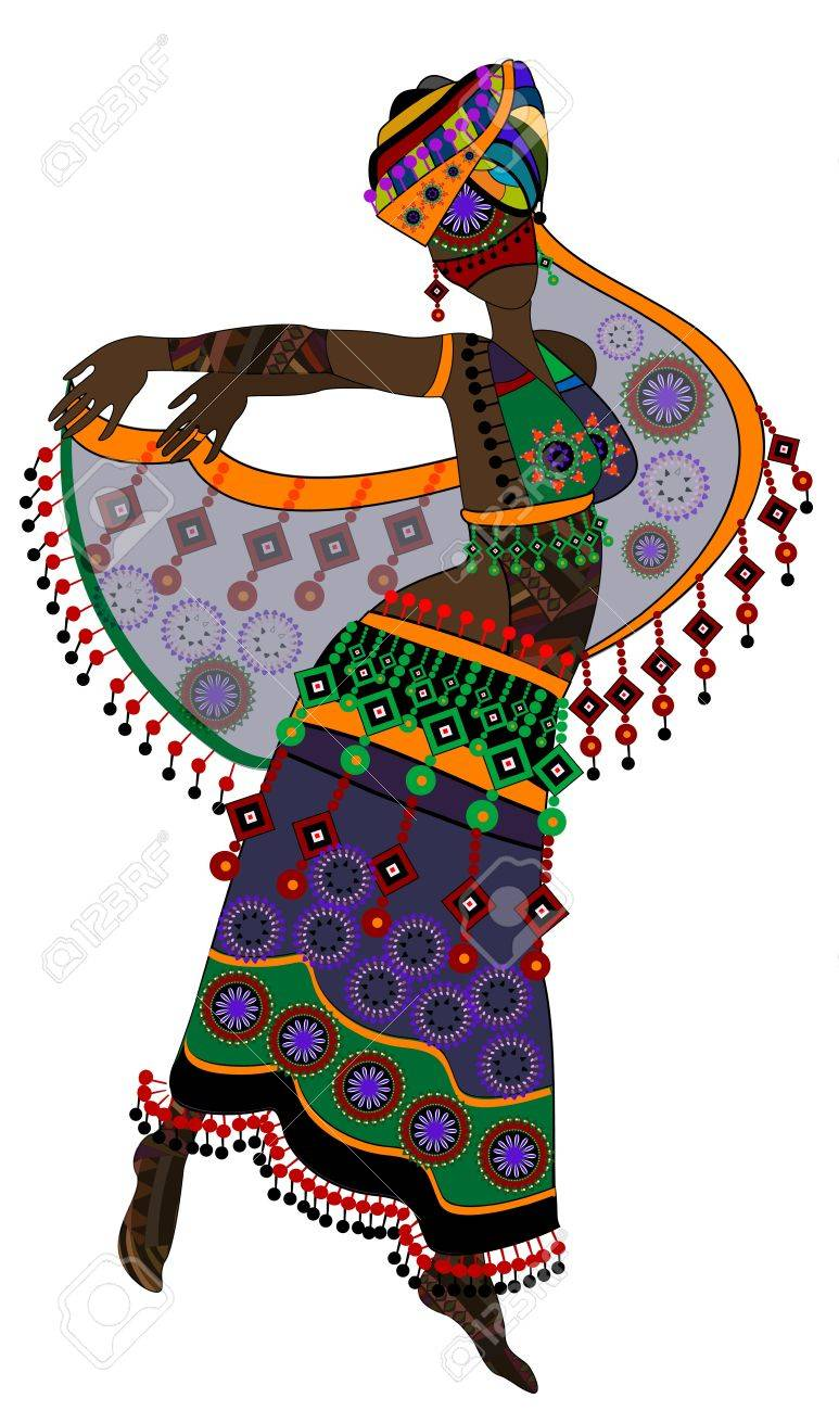 woman in ethnic style in a beautiful dress dancing a religious dance (eps.10) Stock Vector - 11993571