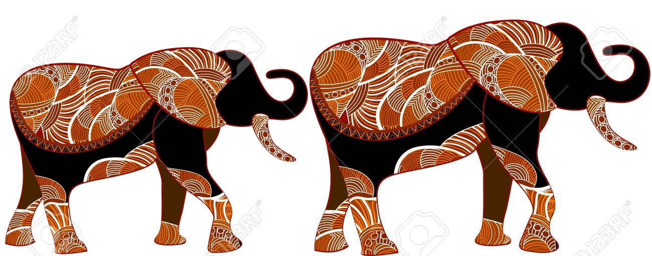 African elephants in the ethnic style of the various elements on a white background Stock Vector - 12136786
