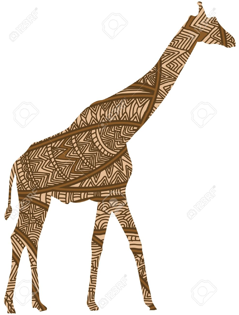 ethnic giraffe is a symbol of beautiful africa royalty free