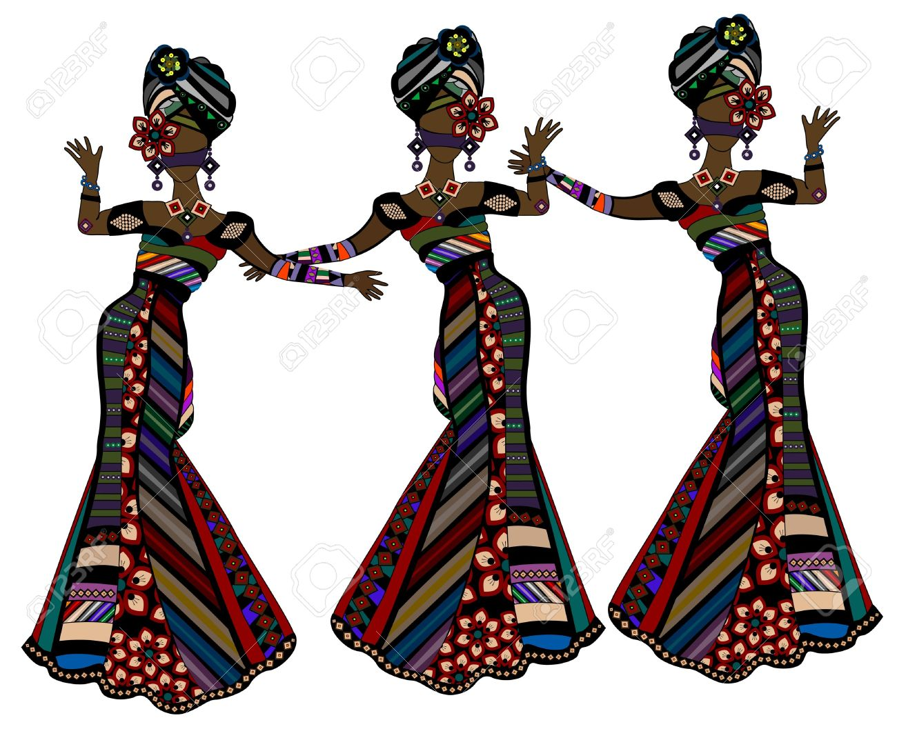 women in beautiful dresses in ethnic style dancing on a white background - 17777124