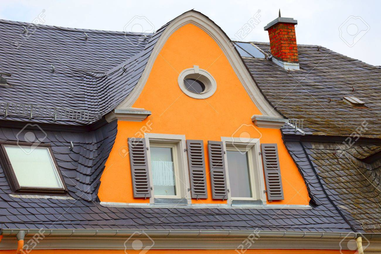 Old historic roof  in small city Saarburg, Rheinland-Pfalz, Germany, evening, summer Stock Photo - 15053850