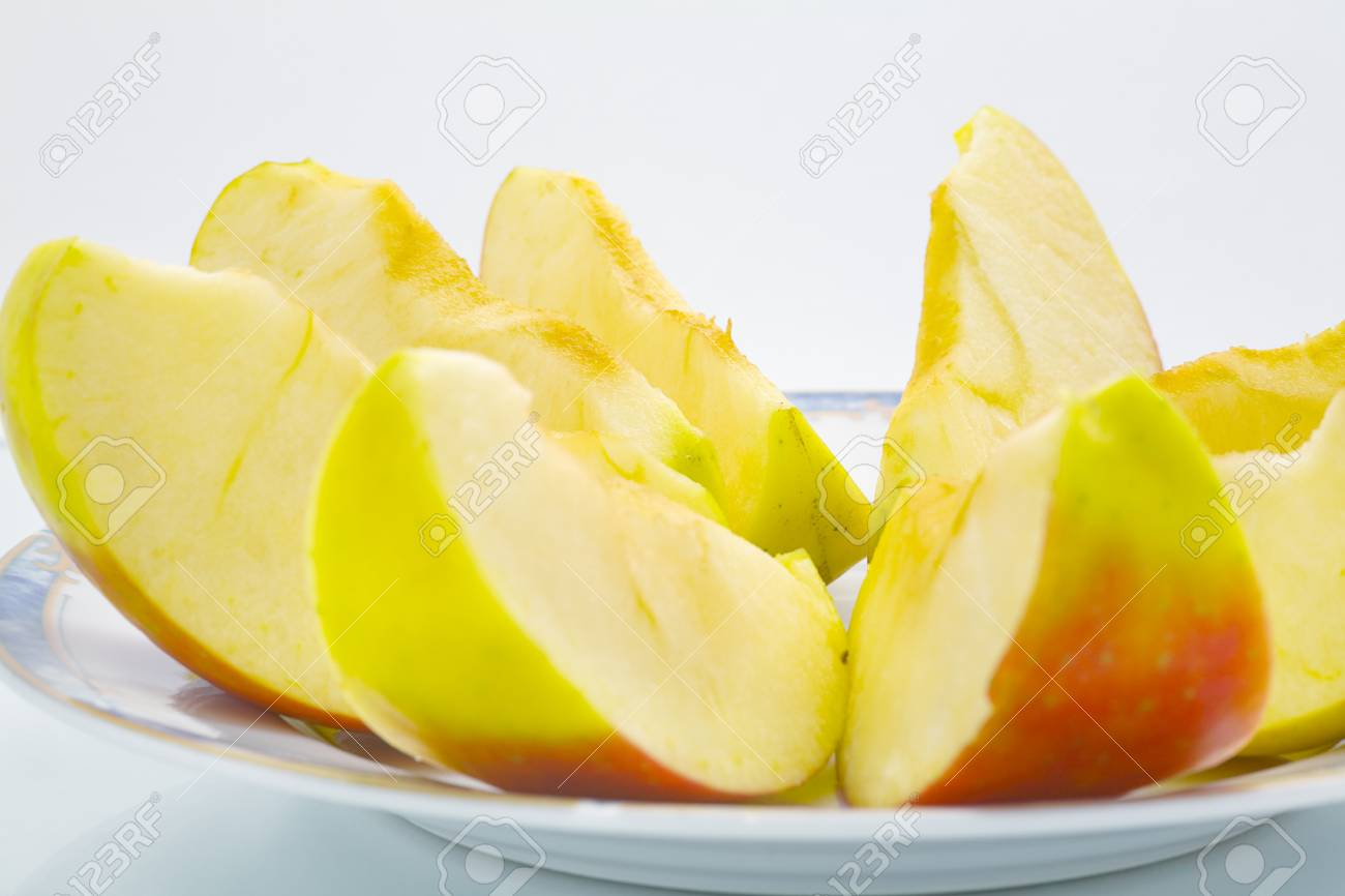 Close up of a quarters of apple fruit, isolated on white background Stock Photo - 16809373