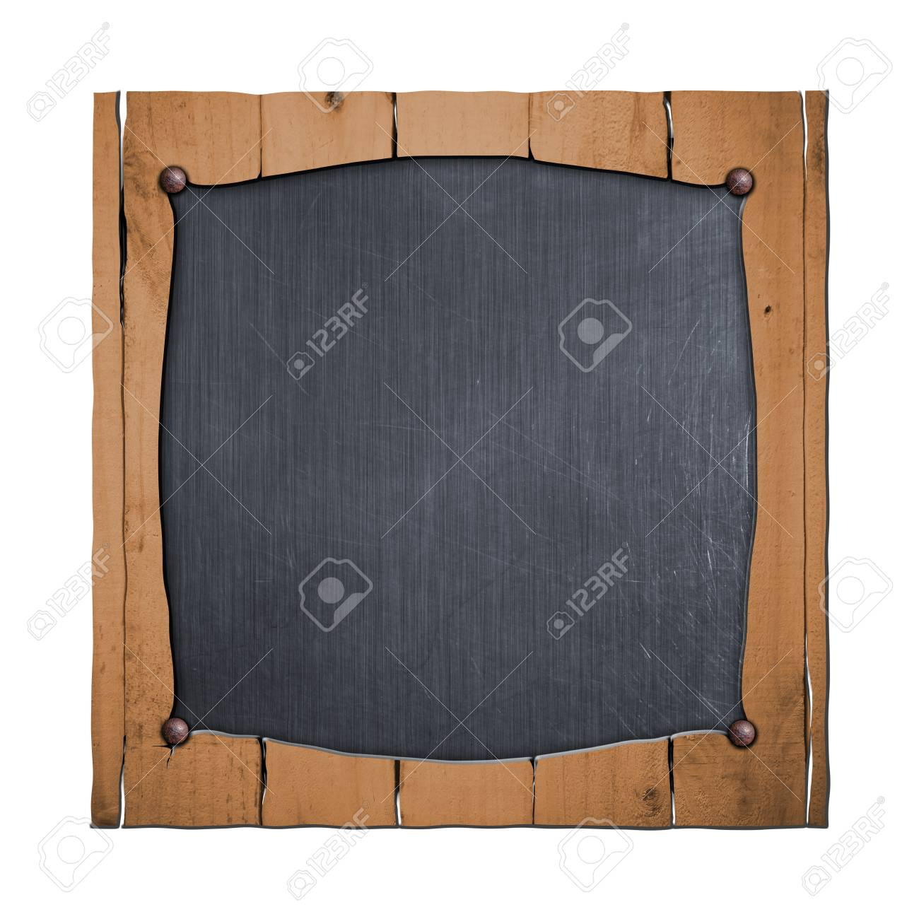 Rustic Wood Frame On Metal Plate. Isolated White Background. 3d  Illustration. Vintage Signboard