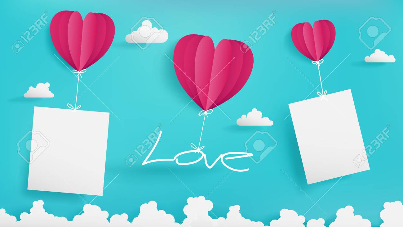 Valentine S Day Artwork Contain Three Balloons Blue Sky Background