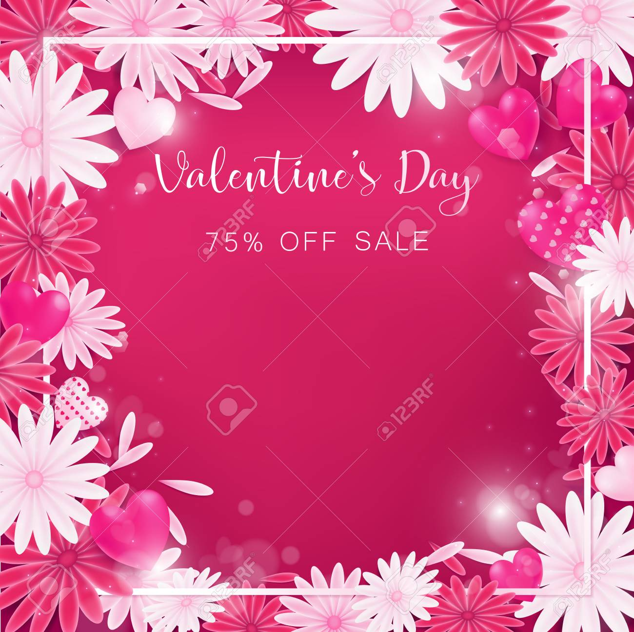 Valentine floral invitation is decorate in red and pink color valentine floral invitation is decorate in red and pink color as flower blooming border is stopboris Images
