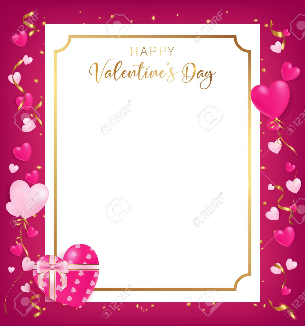 Valentine S Day Banner Template With Heart And Confetti Border